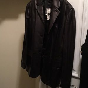 Theory men's leather coat size large brand new